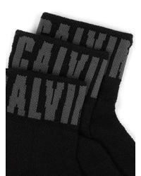 Topman - Calvin Klein Black Logo Trainer Socks 3 Pack for Men - Lyst