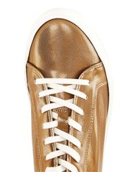 Topman Bronze Metallic Leather Printed Sneakers for men