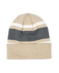 Topman | Multicolor Camel, Cream And Grey Colour Block Beanie Hat for Men | Lyst