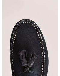 Topman - Blue Navy Suede 'stone' Tassel Loafer for Men - Lyst