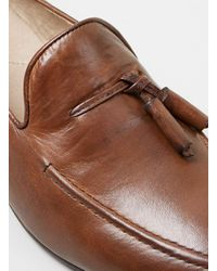 Topman - Brown Hudson Tan Leather Tassel Loafers for Men - Lyst