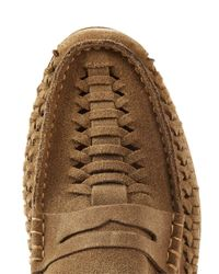 Topman - Brown Tan Suede Weaved Loafer for Men - Lyst