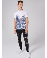 Topman Black Extreme Ripped Spray On Jean for men