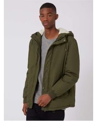 Topman - Green Khaki Cropped Fit Parka for Men - Lyst