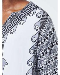 TOPMAN - Jaded Grey And White Kaftan T-shirt* for Men - Lyst