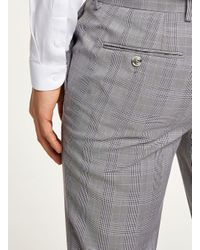 Topman Gray Black And White With Lilac Check Skinny Suit Trouser for men