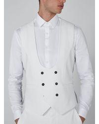 Topman Noose & Monkey White 'ellroy' Waistcoat for men