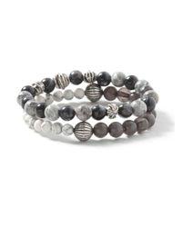 TOPMAN - Gray Semi Precious Beaded Bracelet Pack* for Men - Lyst