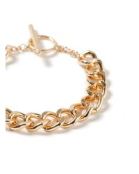 TOPMAN - Metallic Chain T Bar Bracelet for Men - Lyst