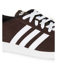 Adidas Originals | Brown And White Stripe Vl Court Trainers for Men | Lyst
