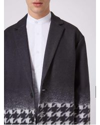 Topman Blue Rogues Of London Black And Jumbo Dogstooth Overcoat for men