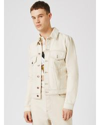Topman - Natural Design Off White Trucker Jacket With Separate Badges for Men - Lyst