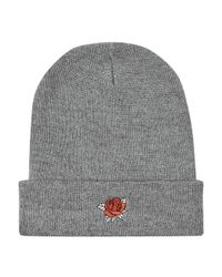 Topman Gray Grey Rose Embroidered Beanie for men