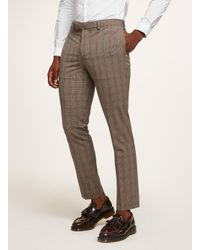 Topman Blue Brown Check Muscle Suit Trouser for men