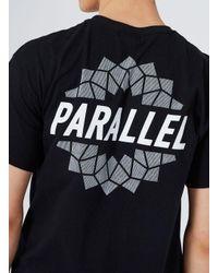 Topman Black Parallel Print Oversized T-shirt for men