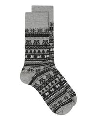 Topman - Black And Gray Christmas Fair Isle Socks for Men - Lyst