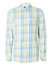 TOPMAN | Blue Summer Yellow Check Casual Shirt for Men | Lyst