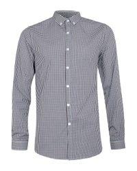 TOPMAN - Blue Long Sleeve Gingham Shirt for Men - Lyst