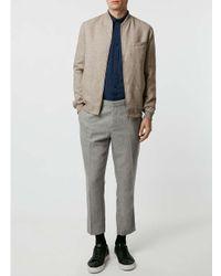 Topman - Natural Stone Wool Blend Tailored Bomber Jacket for Men - Lyst