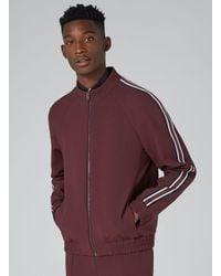 Topman - Red Burgundy Side Stripe Zip Up Jacket for Men - Lyst