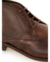 Topman - Brown Leather Chukka Boots for Men - Lyst