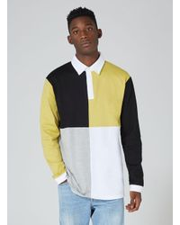 Topman - Yellow And Black Rugby Polo Shirt for Men - Lyst