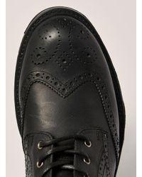 Topman - Black Leather Harvey Brogue Boot for Men - Lyst