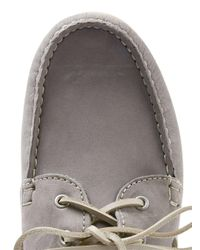 Topman - Gray Grey Leather Boat Shoes for Men - Lyst