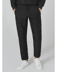 Topman - Design Black Quilted Joggers for Men - Lyst