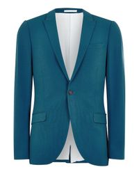 Topman Green Teal Spray On Suit Jacket for men