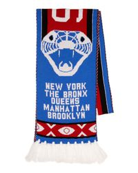 Topman Blue Five Districts Football Scarf for men