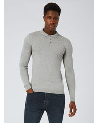Topman - Gray Grey Marl Knitted Polo for Men - Lyst