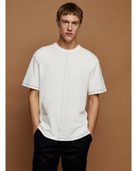 Topman White Ecru Contrast Stitch T-shirt for men