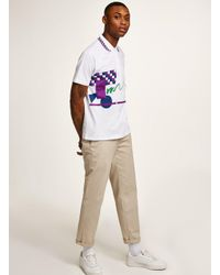 Topman Purple Diadora White 'jim Courier' Polo for men
