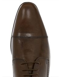 Topman Brown Leather Lace Toecap Shoe for men