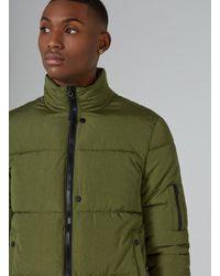Topman - Green Puffer Jacket for Men - Lyst