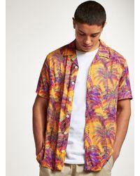 Topman - Orange Palm Tree Short Sleeve Shirt for Men - Lyst