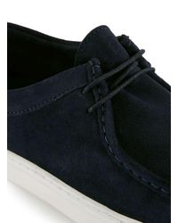 Topman Blue Navy Suede Rolled Apron Sports Shoes for men