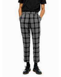 Topman Black And Grey Check Skinny Dress Pant for men