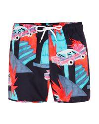 Topman Blue Navy Neon Car Print Swim Short for men