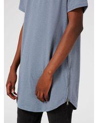 Topman Blue Zip Hem Longline T-shirt for men