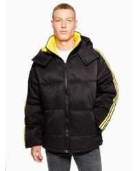 Topman Black Puffer Jacket With Arm Strip for men