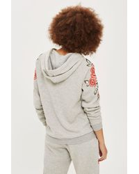 TOPSHOP | Gray Floral Embroidered Sweater | Lyst