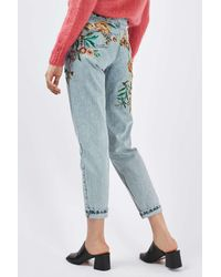 TOPSHOP - Blue Moto Fall Floral Embroidered Mom Jeans - Lyst