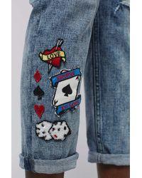 TOPSHOP | Blue Moto Badge Lucas Jeans | Lyst