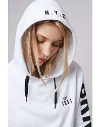 TOPSHOP - White Brooklyn Sports Hoodie - Lyst