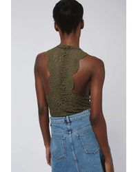 TOPSHOP Natural Scalloped Lace Body