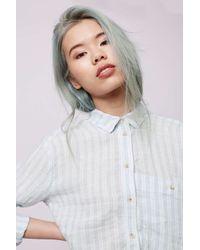 TOPSHOP - White Moto Oversized Stripe Shirt - Lyst