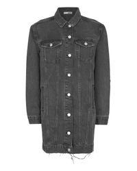 TOPSHOP   Black Moto Longline Denim Jacket   Lyst