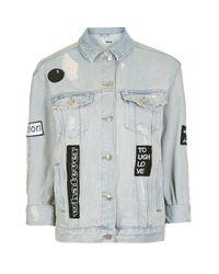 TOPSHOP   Multicolor Moto Black & White Badge Jacket   Lyst